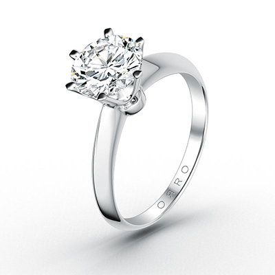 ORRO Classic 6 Prongs Solitaire (2.00ct) in 18K White Gold