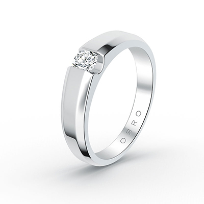ORRO Modern Brilliant Cut Ring (Men) in 18K White Gold