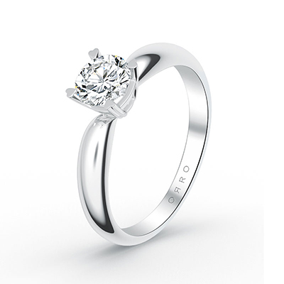 ORRO Heart-Tip Solitaire Ring with Cushioned Band in 18K Rose Gold