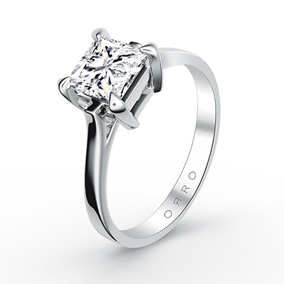 ORRO Classic Asscher Cut Solitaire in Modern Cathedral Setting