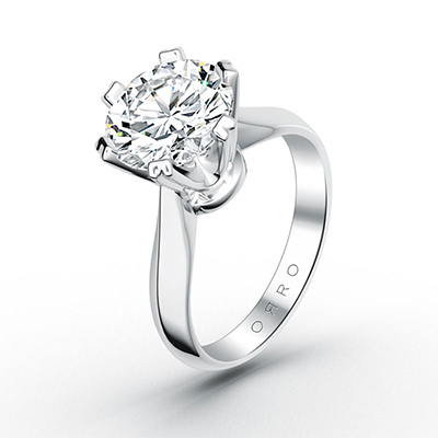 ORRO Classic Roman Set Solitaire Ring (0.75ct) in 18K White Gold