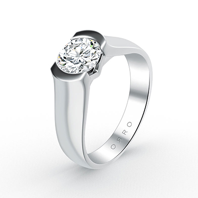 ORRO Tank Band Brilliant Cut Solitaire Ring in 18K White Gold