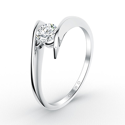 ORRO Swirl Solitaire Ring  (0.50ct) in 18K Yellow Gold