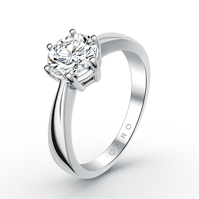 ORRO Classic Knife Edge 6 Pronged Brilliant Cut Solitaire Ring in 18K White Gold