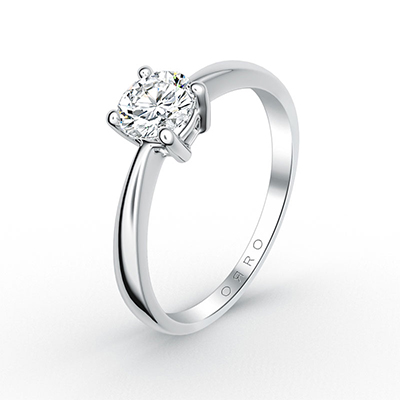 ORRO Knife Edge Brilliant Cut Solitaire Ring (0.50ct) in 18K White Gold