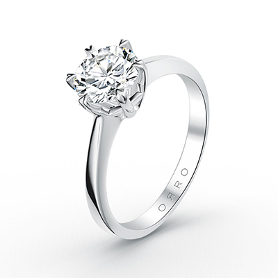 ORRO Classic Heart Pronged Solitaire Ring (6 Pronged) in 18K Yellow Gold