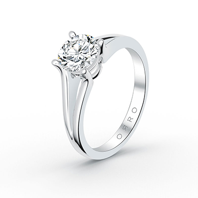 ORRO Extended Prong Solitaire Ring in 18K Rose Gold
