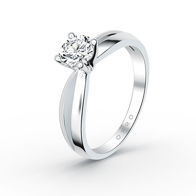 ORRO Bow-Pronged Solitaire Ring (1.0ct) in 18K White Gold