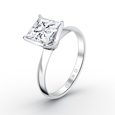 ORRO Classic Princess Cut Solitaire Ring (0.75ct) in 18K White Gold