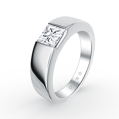 ORRO Tank Band Princess Cut Solitaire Ring (0.15ct)