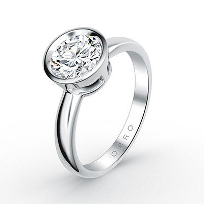 ORRO Classic Bezel Set Solitaire Ring (0.50ct) in 18K White Gold