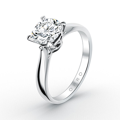 ORRO Classic 4 Prongs Solitaire Ring (0.50ct) in 18K White Gold