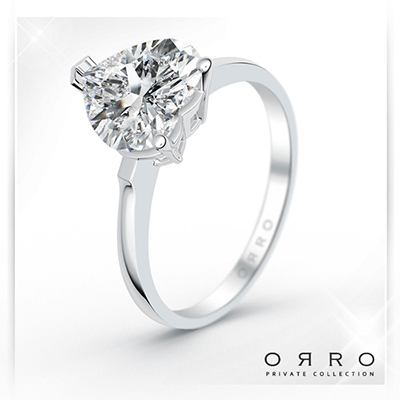 ORRO Paved Heart Ring(1.5ct) in 18K White Gold
