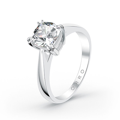 ORRO Classic Cushion Cut Ring (1.0ct) in 18K White Gold