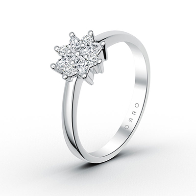 ORRO Dual-Cut Flower Ring in 18K White Gold