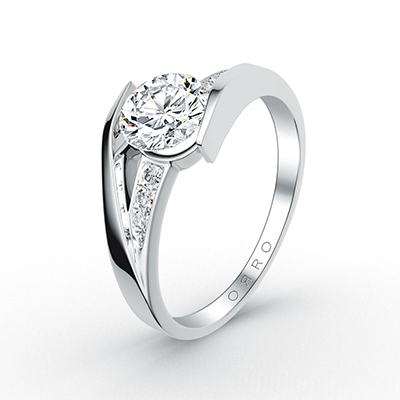 ORRO Paved Swirl Ring in 18K White Gold