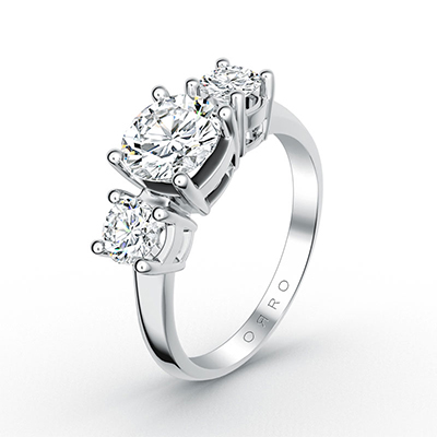 ORRO Trilogy Brilliant Cut Ring in 18K White Gold