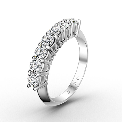 ORRO 7 Stones Royal Band in 18K White Gold