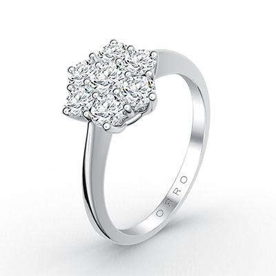 ORRO Flora Cocktail Flower Ring (Total Carat Weight: 0.65ct) in 18K White Gold