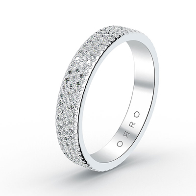 ORRO Three-Line Paved Ring Band in 18K White Gold