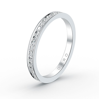ORRO Brilliant Studded Band (thinner band) in 18K White Gold