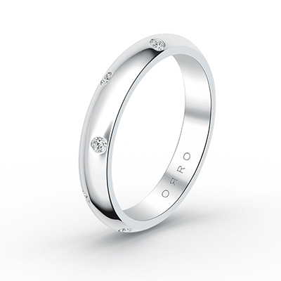 ORRO Dotted Sparkle Band in 18K White Gold