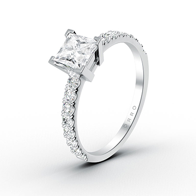 ORRO Princess Cut Half-Paved Ring (0.50ct) in 18K White Gold