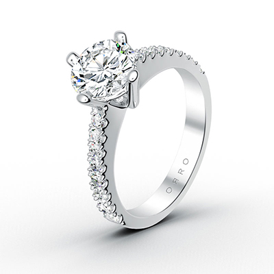 ORRO Round Brilliant Cut Half-Paved Ring in 18K White Gold