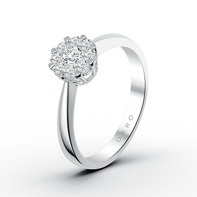 ORRO Flora Cluster-Set Ring in 18K White Gold