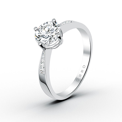 ORRO Adorned Semi Knife Edge Solitaire Ring in 18K White Gold