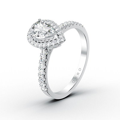 ORRO Tear-Drop Spectacular Ring in 18K White Gold