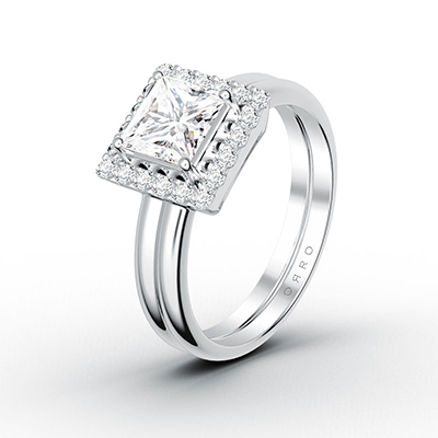 ORRO Princess Cut Tiered Ring with Double-Band Contours in 18K White Gold