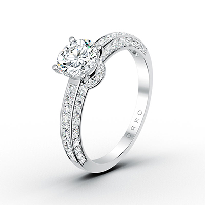 ORRO Completely Half Paved Brilliant Solitaire Ring