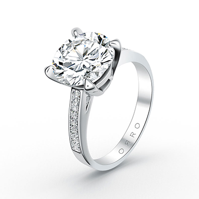ORRO Paved Four Pronged Solitaire Ring in 18K Yellow Gold
