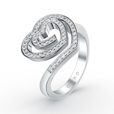 ORRO Love Edition Spiral Hearts Ring in 18K White Gold