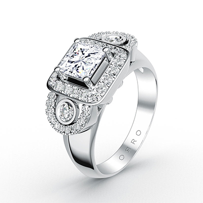 ORRO Prodigy Princess Ring in 18K White Gold