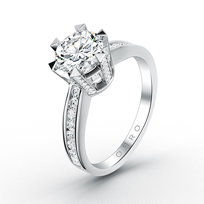 ORRO Royal Crown Jewel Ring in 18K White Gold