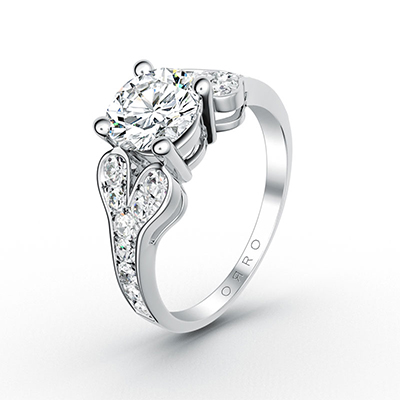 ORRO Hearts Band Brilliant Cut Ring in 18K White Gold