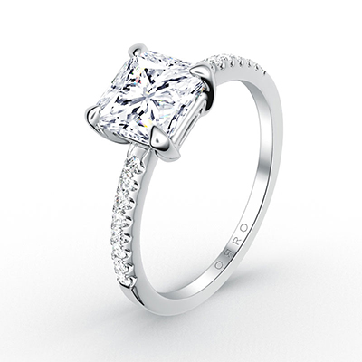 ORRO Microset Half Band Asscher Cut Ring