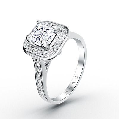 ORRO Paved Setting Asscher Cut Ring in 18K Rose Gold