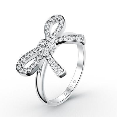 ORRO Bow Ribbon Ring in 18K White Gold