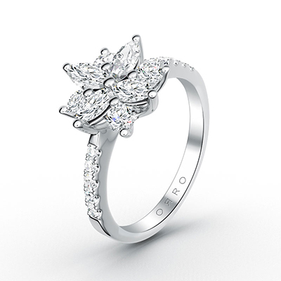 ORRO Marquise Cocktail Flower Ring in 18K White Gold