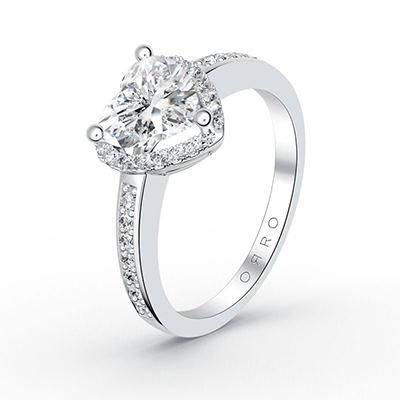 ORRO Center Of My Heart Ring (1.0ct center stone) in 18K White Gold