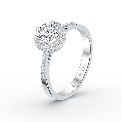 ORRO Microset Half Band Paved Brilliant Cut Ring (0.75ct) in 18K White Gold