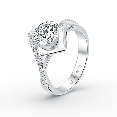 ORRO Contemporary Promise Ring in 18K White Gold