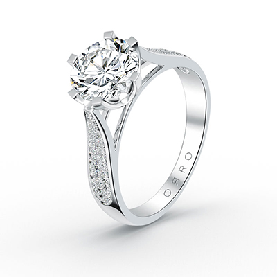 ORRO Paved Accented 6 Prong Centred Ring