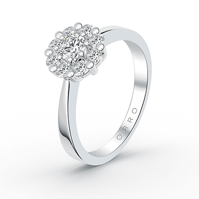 ORRO Double Flower Ring in 18K White Gold