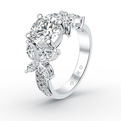 ORRO Mirrored Flower Ring in 18K White Gold
