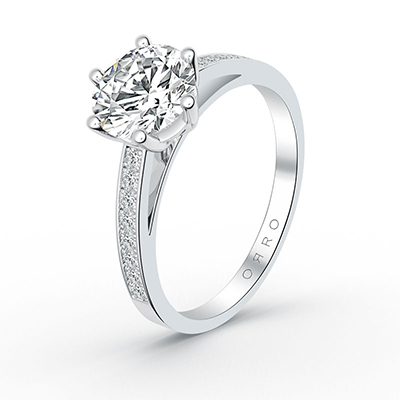 ORRO Single Banded Round Cut Ring in 18K White Gold