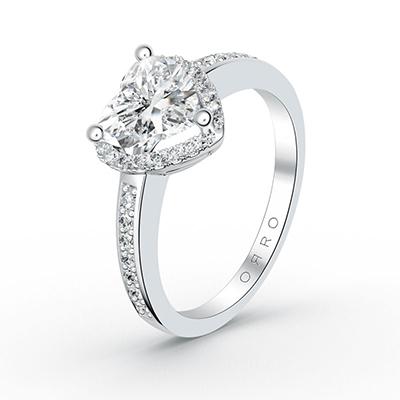 ORRO Center Of My Heart Ring (2.00ct center stone) in 18K White Gold